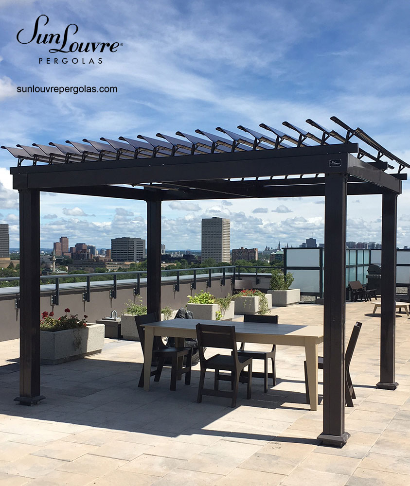 pergola terrace roof table 026 sunlouvre pergolas official site. Black Bedroom Furniture Sets. Home Design Ideas