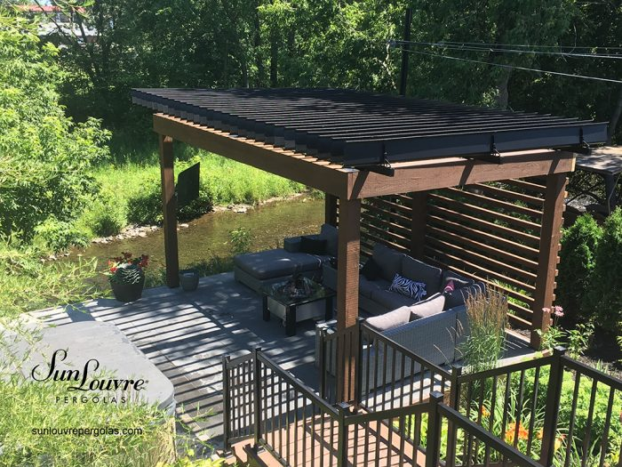 SunLouvre Pergolas, residential, installed on an existing wood structure, adjustable louvered roof pergola, 100% aluminum - image 0401