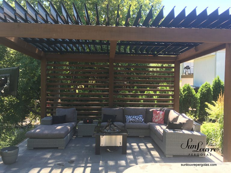 SunLouvre Pergolas, residential, installed on an existing wood structure, adjustable louvered roof pergola, 100% aluminum - image 0402