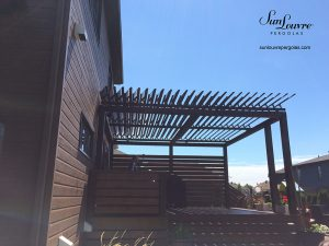 SunLouvre Pergolas, residential, installed on an existing wood structure, adjustable louvered roof pergola, 100% aluminum - image 0403