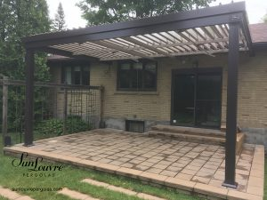 SunLouvre Pergolas, residential, integrated rafters model, attached to the home, adjustable louvered roof pergola, two colors, 100% aluminum - image 0533