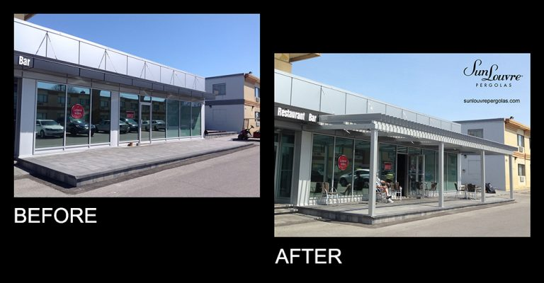 SunLouvre Pergolas - commercial terrace - before-after 0703eng
