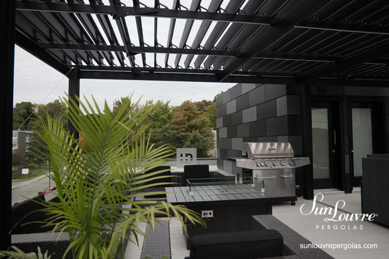 SunLouvre Pergolas, commercial roof-top terrace, attached to the wall, adjustable louvered roof pergola, 100% aluminum - image 0711
