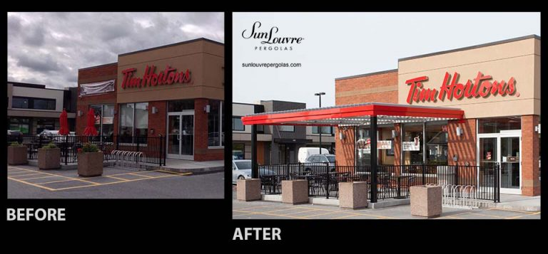 SunLouvre Pergolas - Tim Hortons pergola - image before-after 092avapeng