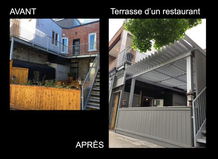 pergola sunlouvre, pergola restaurant avant-apres - image avap102