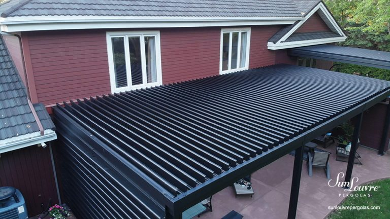 adjustable louvered roof pergola, aluminum pergola, pergola attached to the home