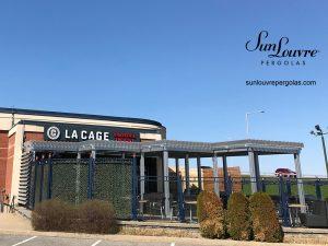 pergola, pergolas, restaurant pergola, aluminum pergola, louvered roof pergola, cage aux sports pergola