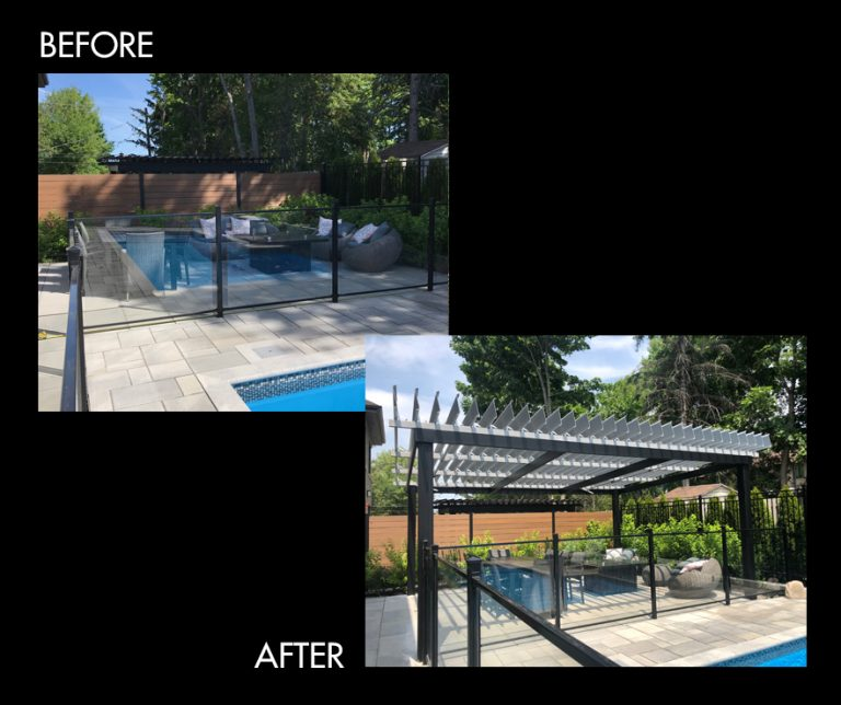 before-after pergola project, aluminum pergola, louvered roof pergola
