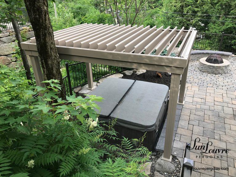 pergola, sunlouvre pergolas, aluminum pergola, louvered roof pergola, pergola for spa