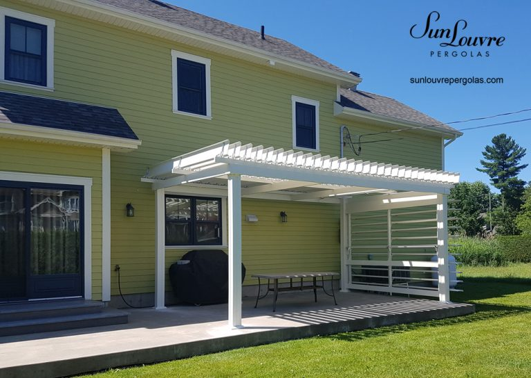 aluminum pergola, pergola, pergola with louvered wall, patio pergola