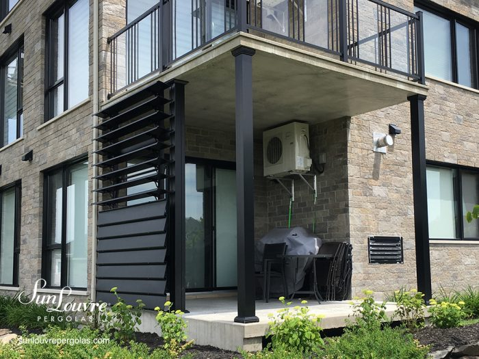 Privacy wall by SunLouvre Pergolas, outdoor aluminum wall, wall of adjustable louvers