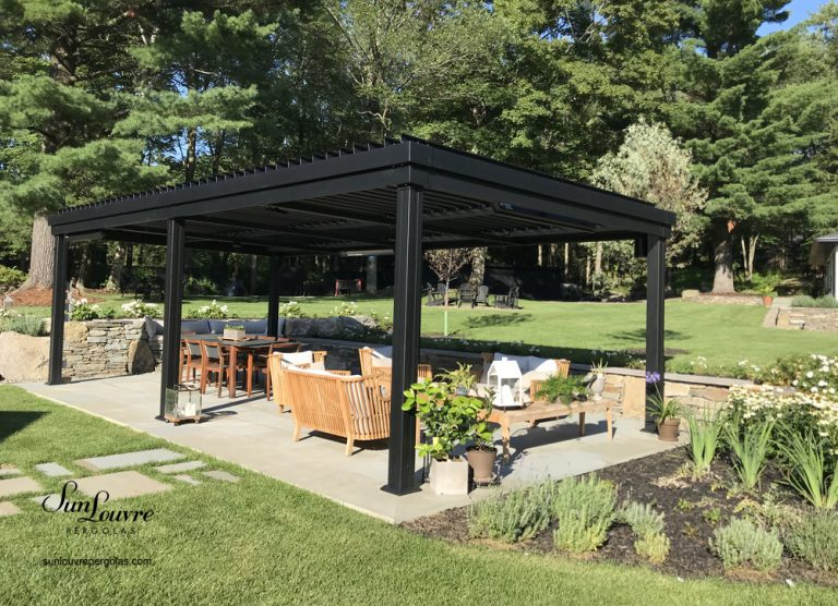 SunLouvre Pergolas with adjustable louvers, aluminum pergola, black integrated louvers pergola