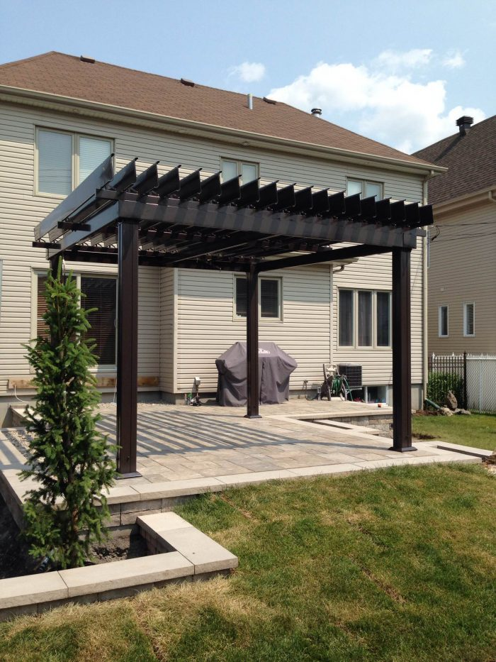 SunLouvre Pergolas Classic on a paved surface
